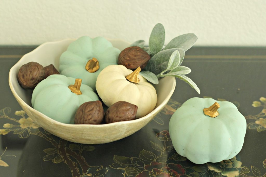 Fall Home Tour blue pumpkins