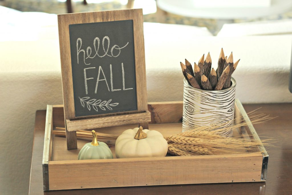 Fall Home Tour chalkboard and tray