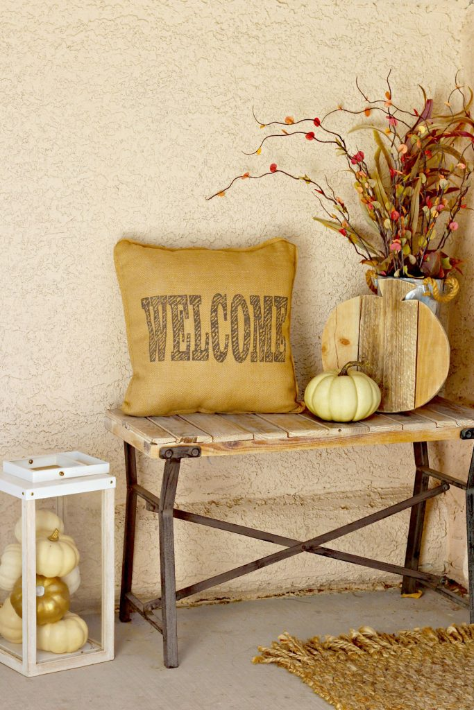 Fall Home Tour front porch bench and pillow