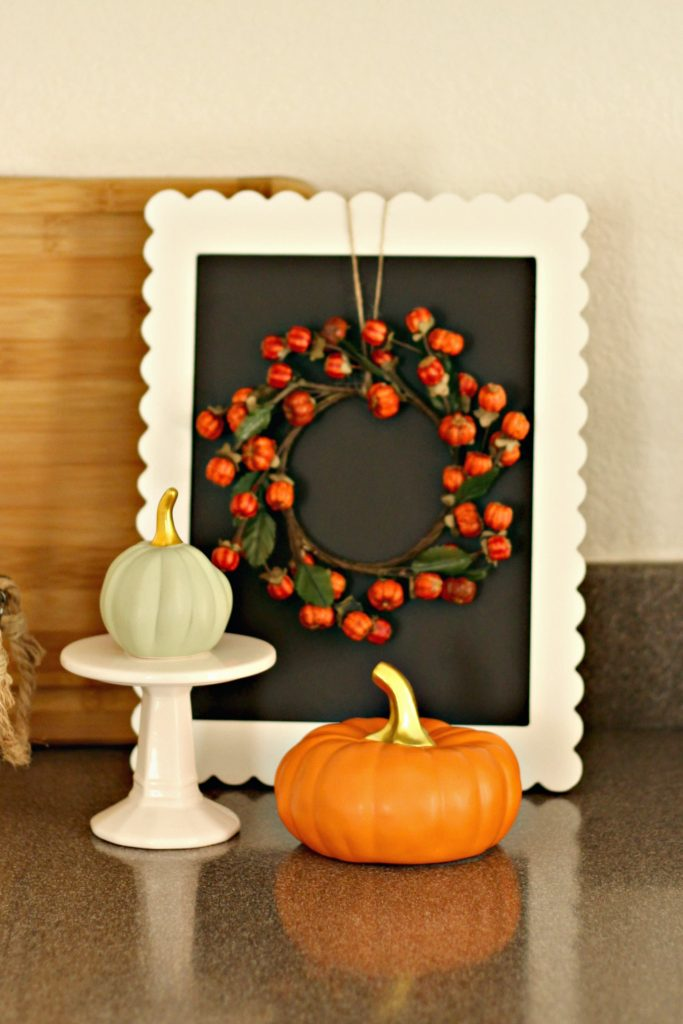 Fall Home Tour mini wreath and chalkboard