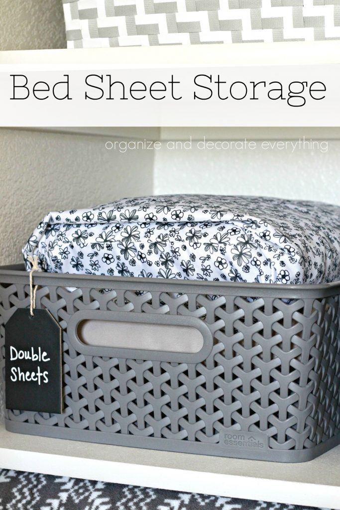 Bed Sheet Storage 31 days of Organizing and Cleaning Hacks