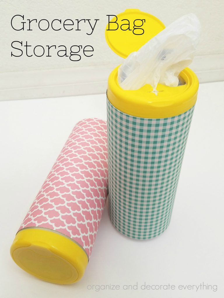 Grocery Bag Storage from a wipes container