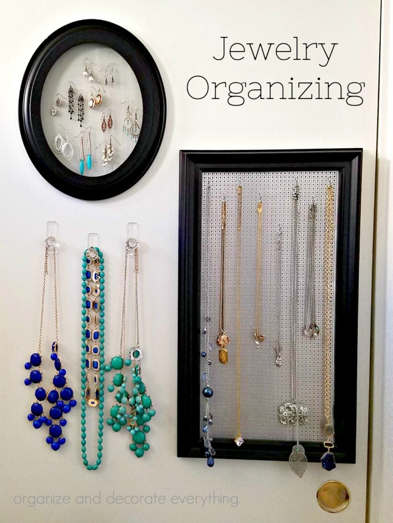 Jewelry Organizing made from frames and a screen
