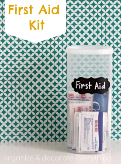 Personal First Aid Kit from a Crystal Light Container