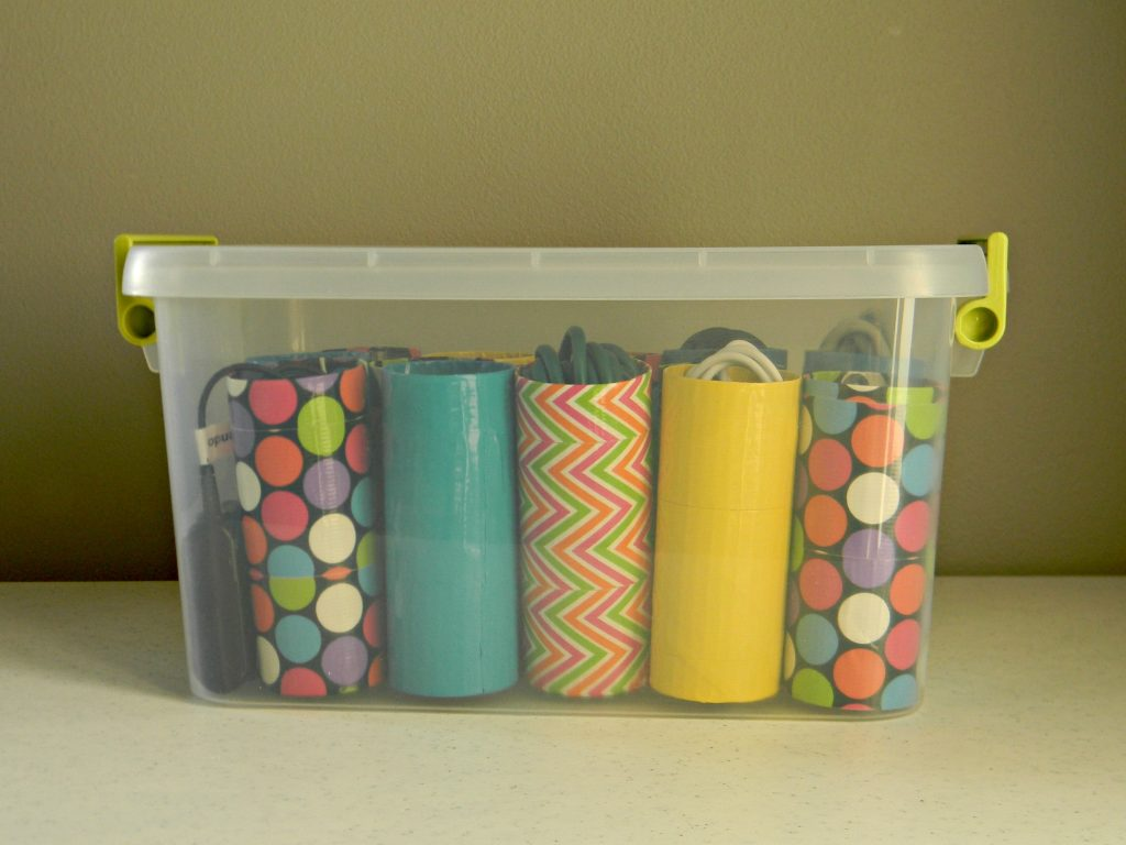 Organizing Cords colorful duck tape