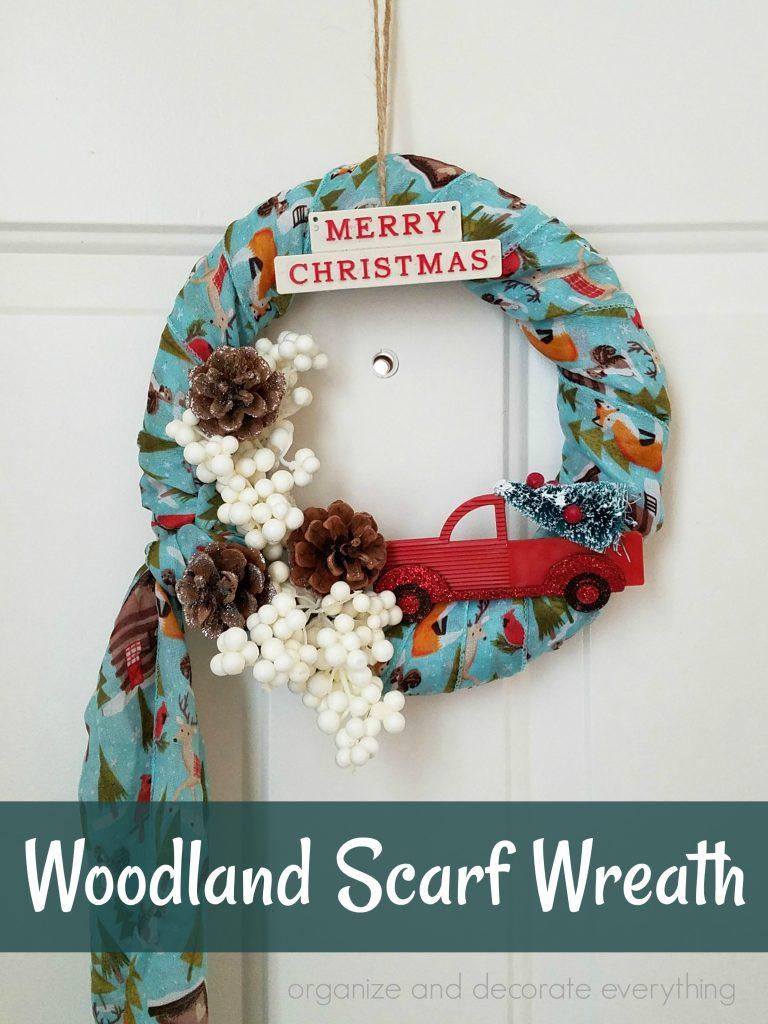 Merry Christmas Woodland Scarf Wreath