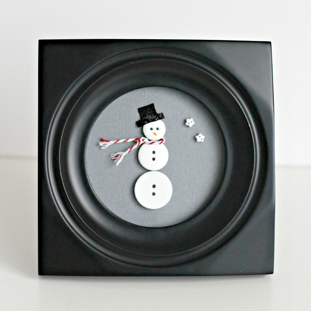 Framed Button Snowman