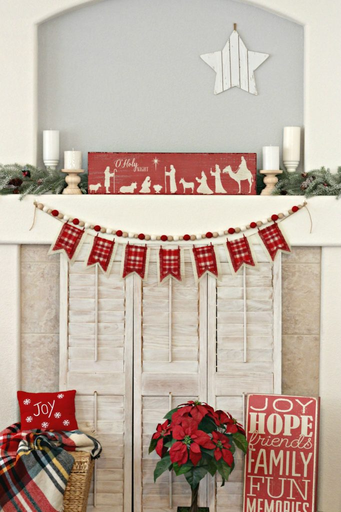 Traditional Red and Green Christmas Mantel