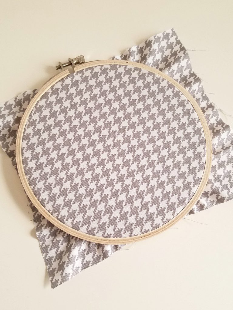 Button Heart fabric on hoop