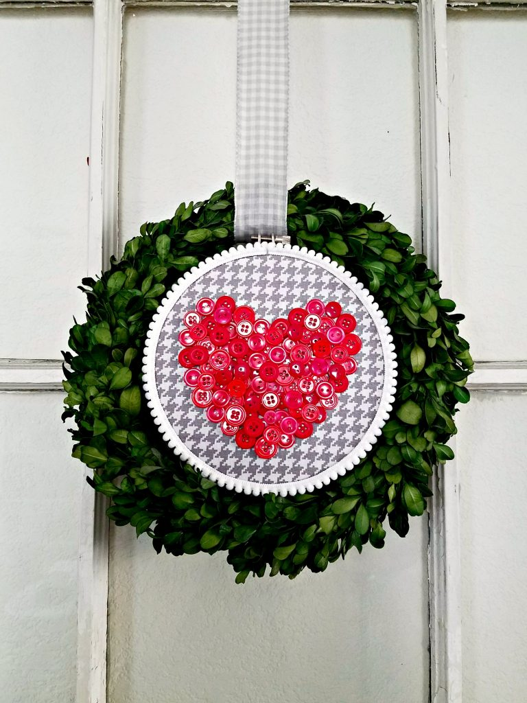 Button Heart on wreath