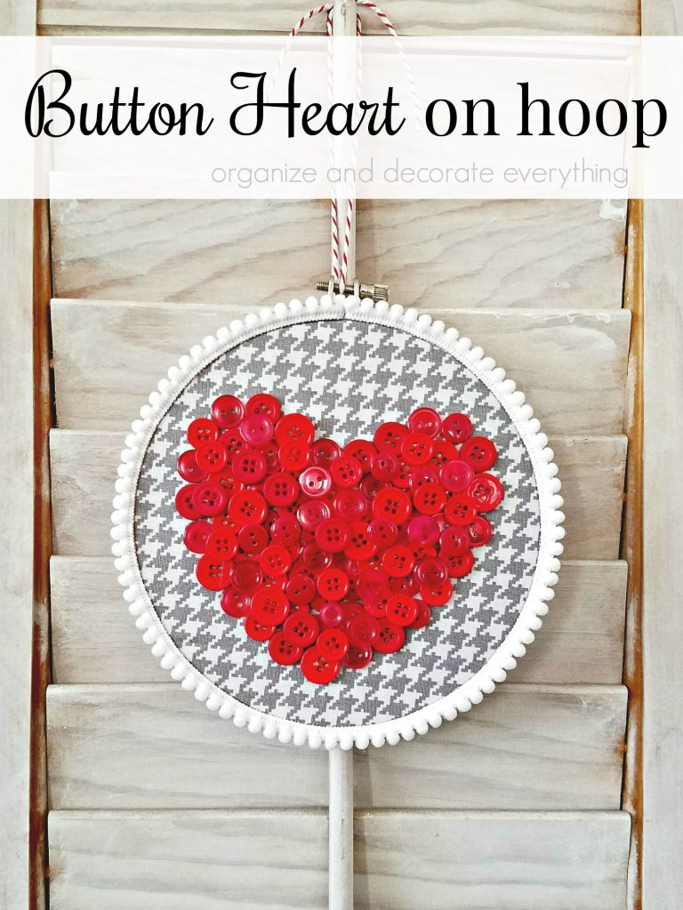 Valentines Day Button Heart on hoop