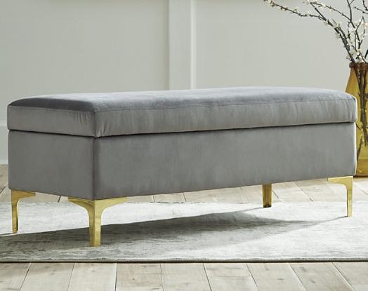 Velvet storage bench