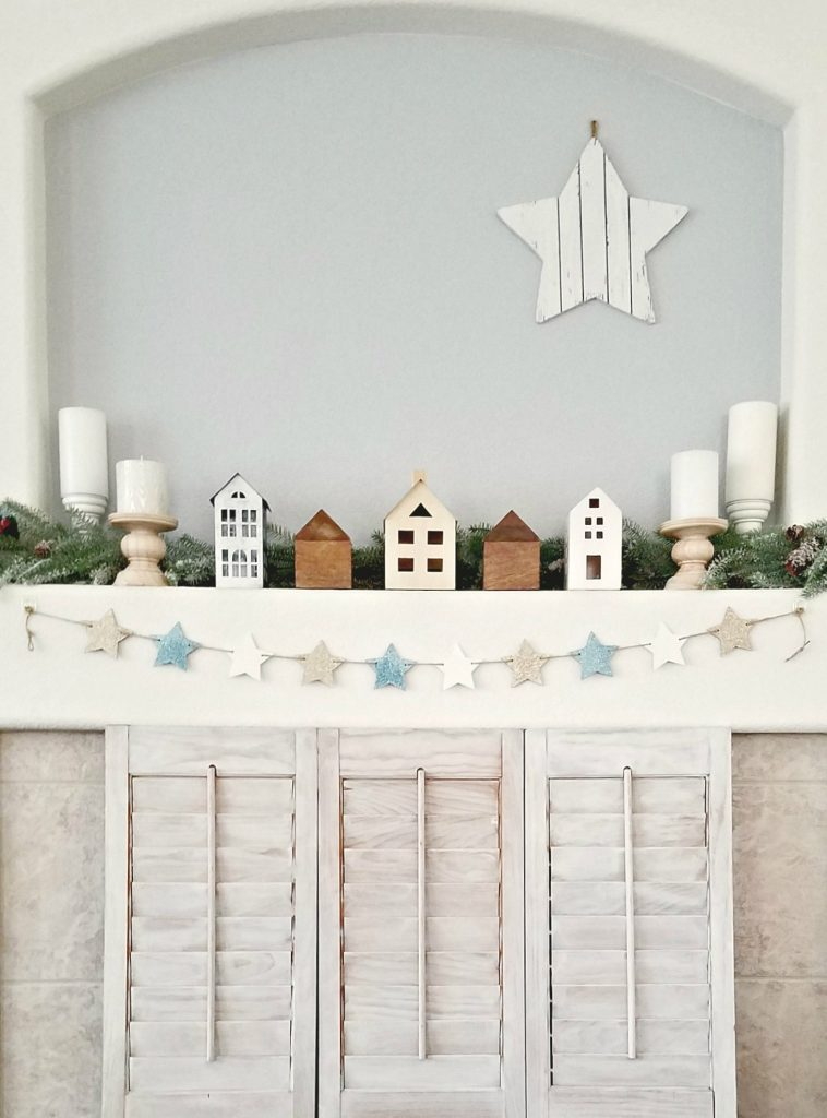 Winter Village mantel with different houses