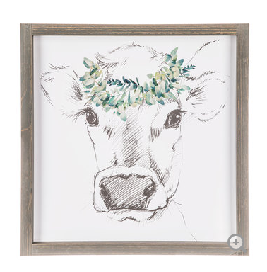 Sketeched Cow with Floral Crown