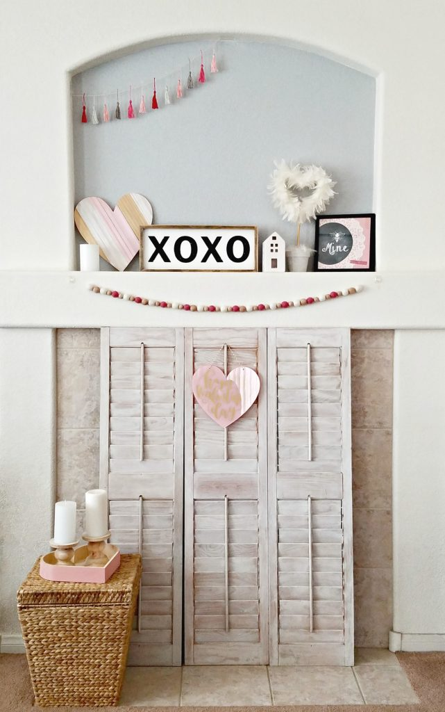Pink and White Valentine day mantel 12