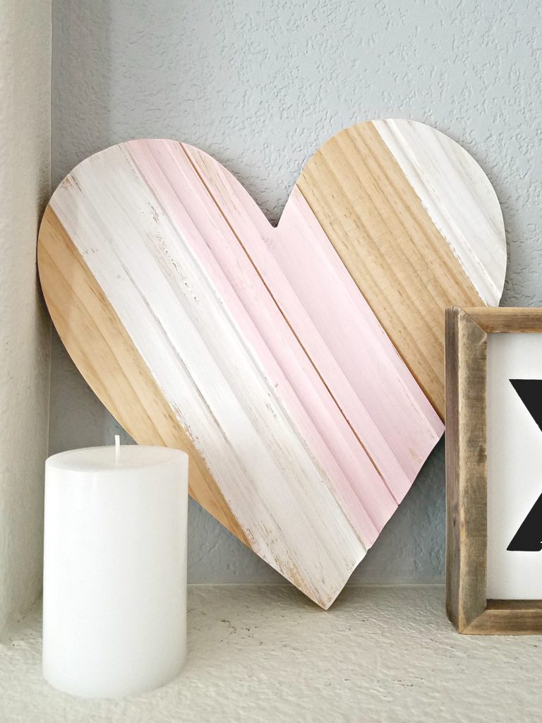 Pink and White Valentines day mantel 5