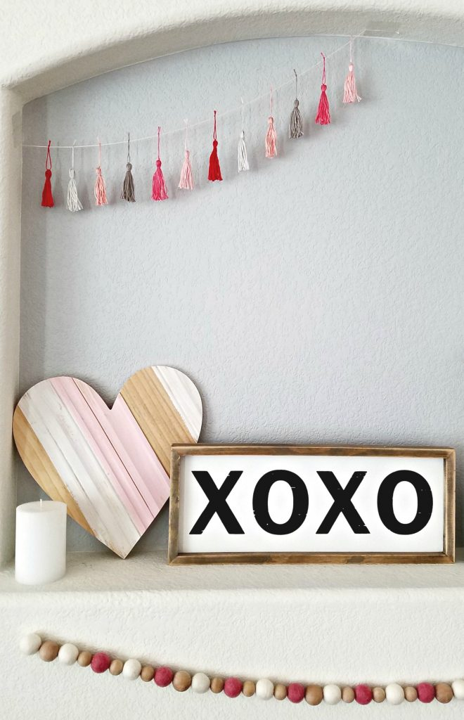 Pink and White Valentine day mantel 7