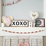 Pink and White Valentines Day Mantel