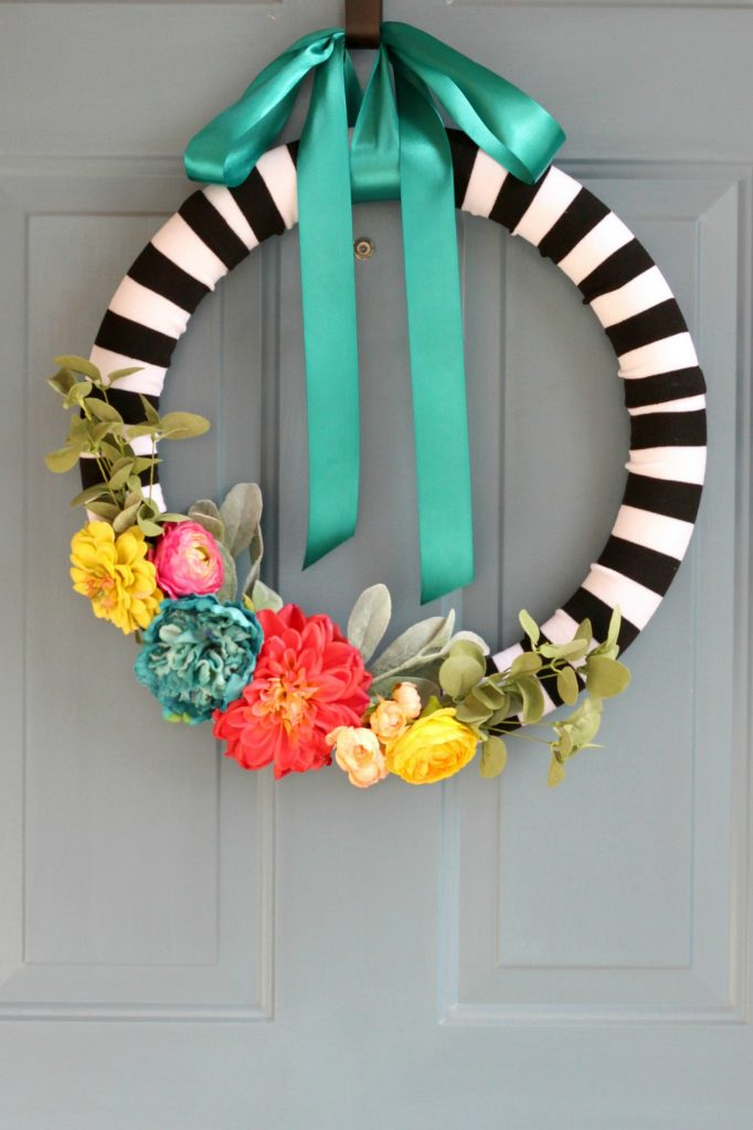 Spring Striped Floral Wreath