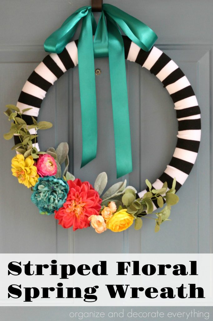 Striped Floral Spring Wreath