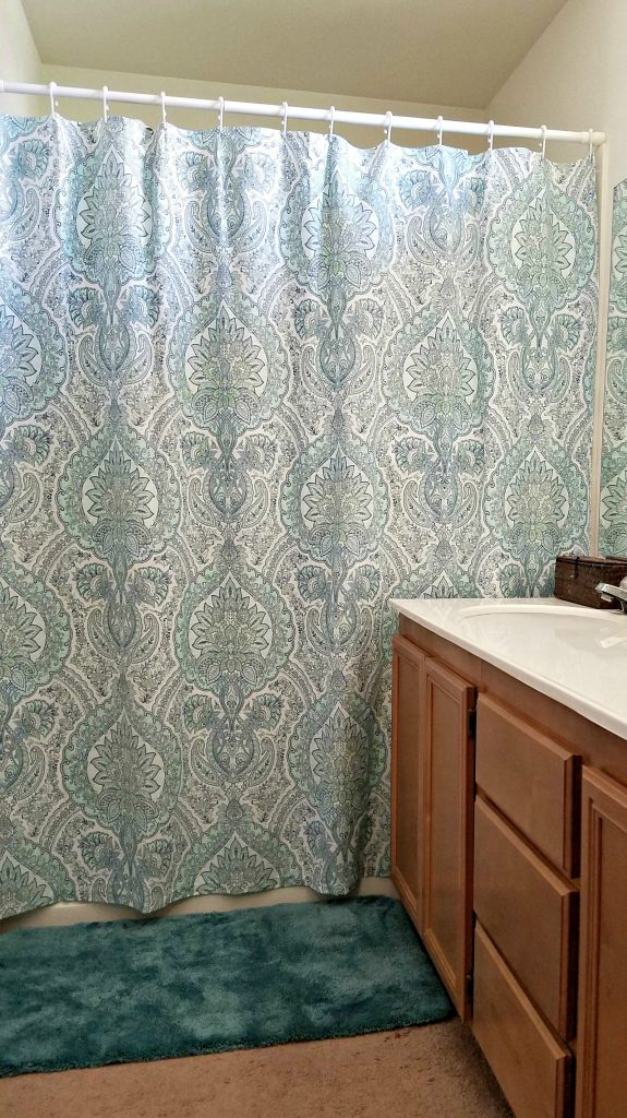 Bathroom Update shower curtain and counters