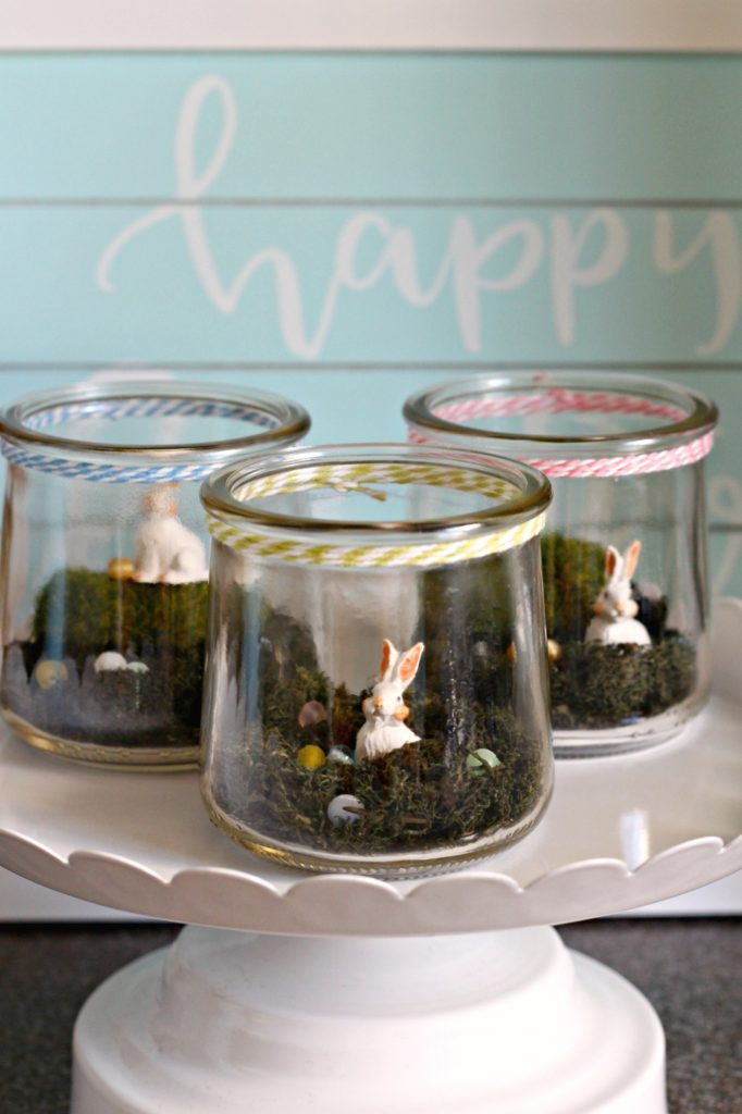 Mini Bunny Terrariums for Easter decor