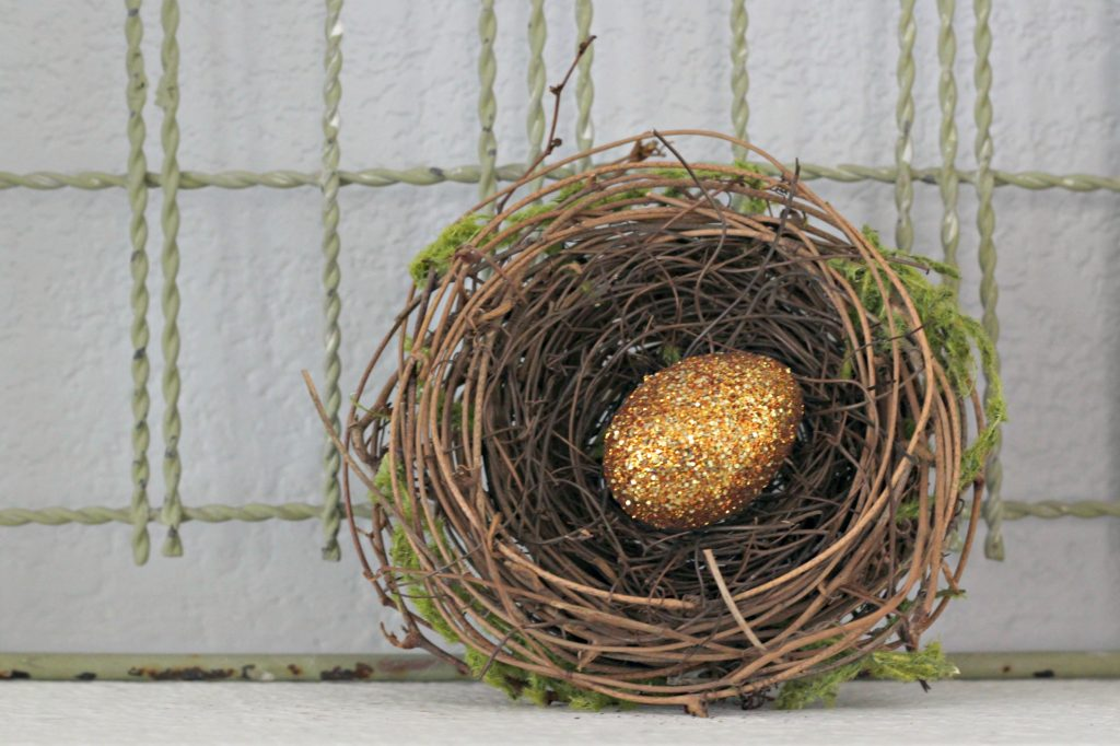 Easter mantel bird nest