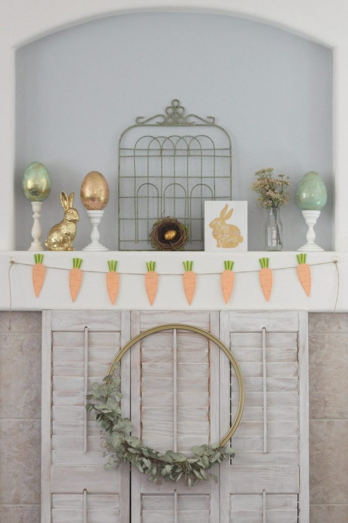 Garden Gate Easter Mantel display