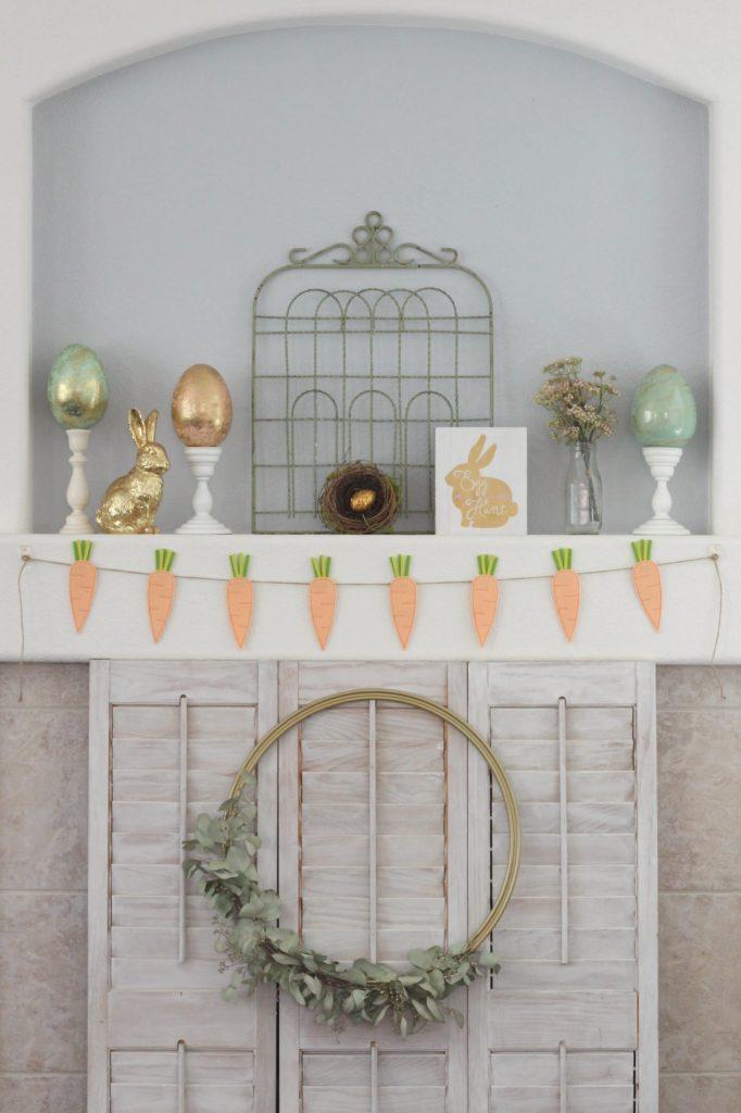 Garden Gate Easter Mantel display
