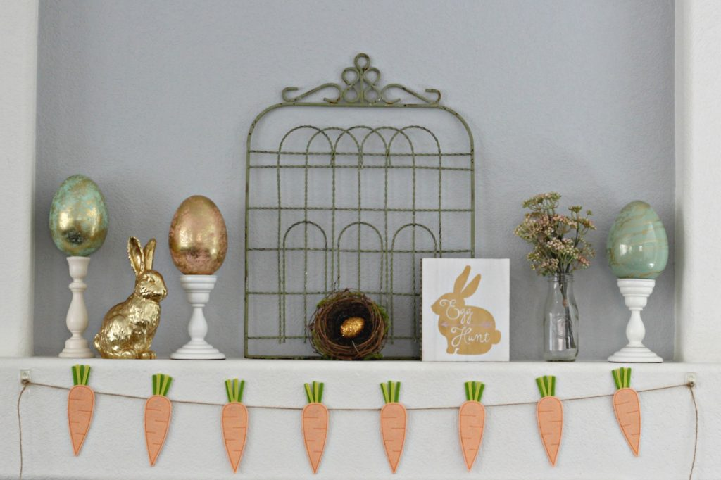 Peach and Green Easter mantel with gate