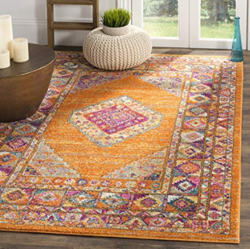 Orange and Fuchsia Medallion Area Rug