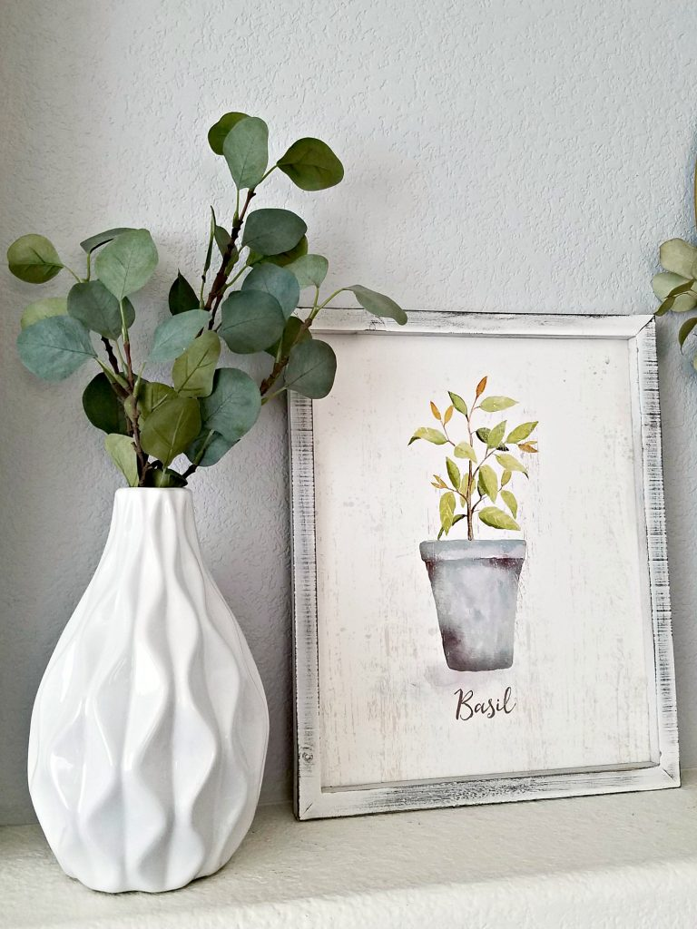 Neutral Spring Mantel picture and vase