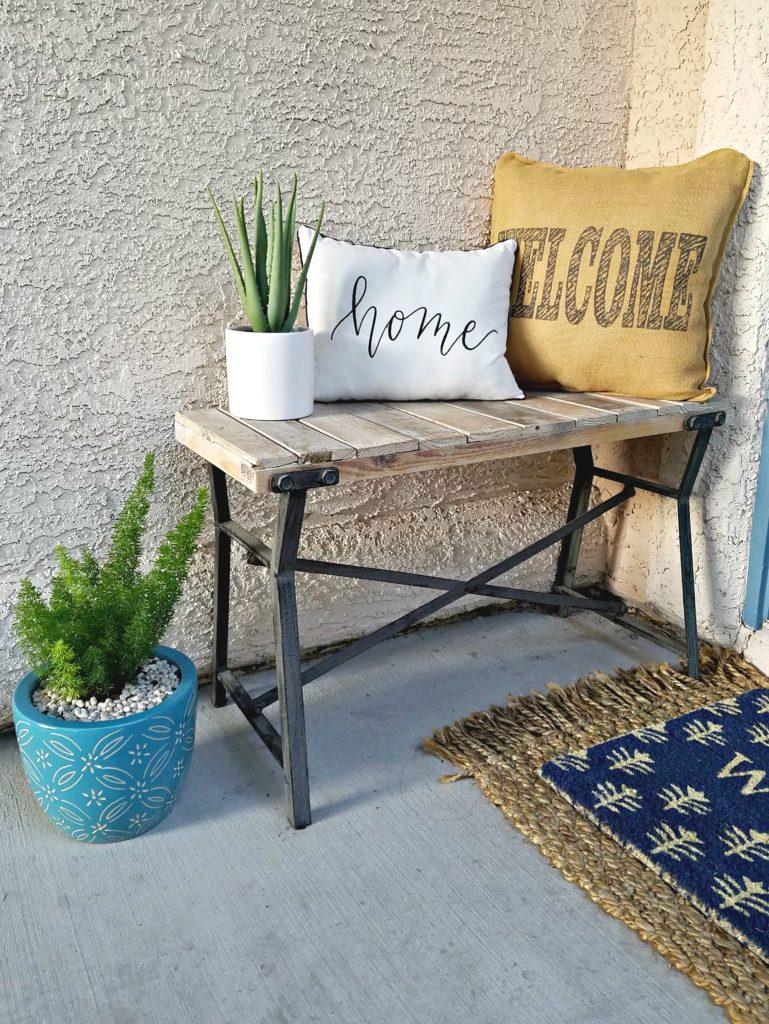 Spring Porch decor bench area