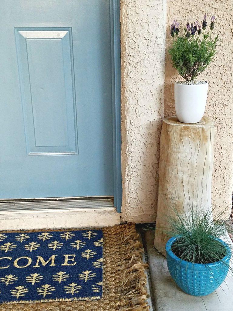 Spring Porch decor log stand