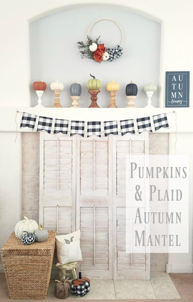 Create this festive Pumpkins and Plaid Autumn Mantel