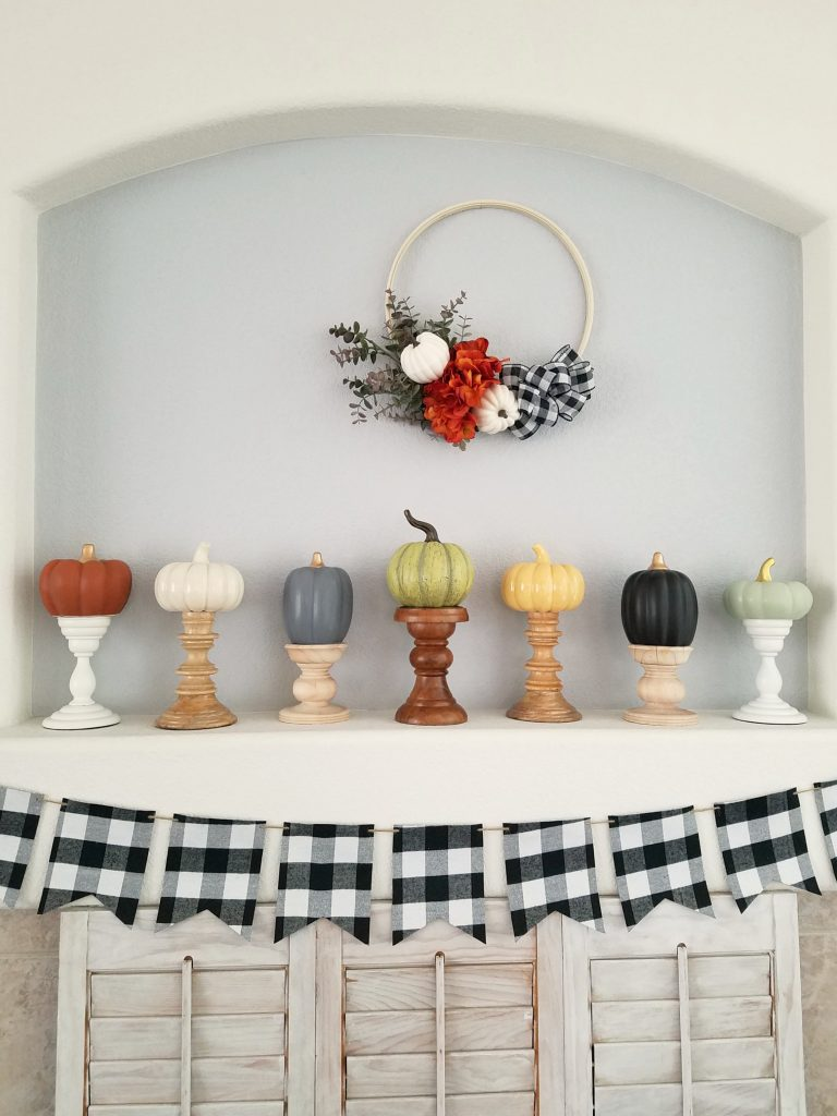 Pumpkins and Plaid Mantel 2