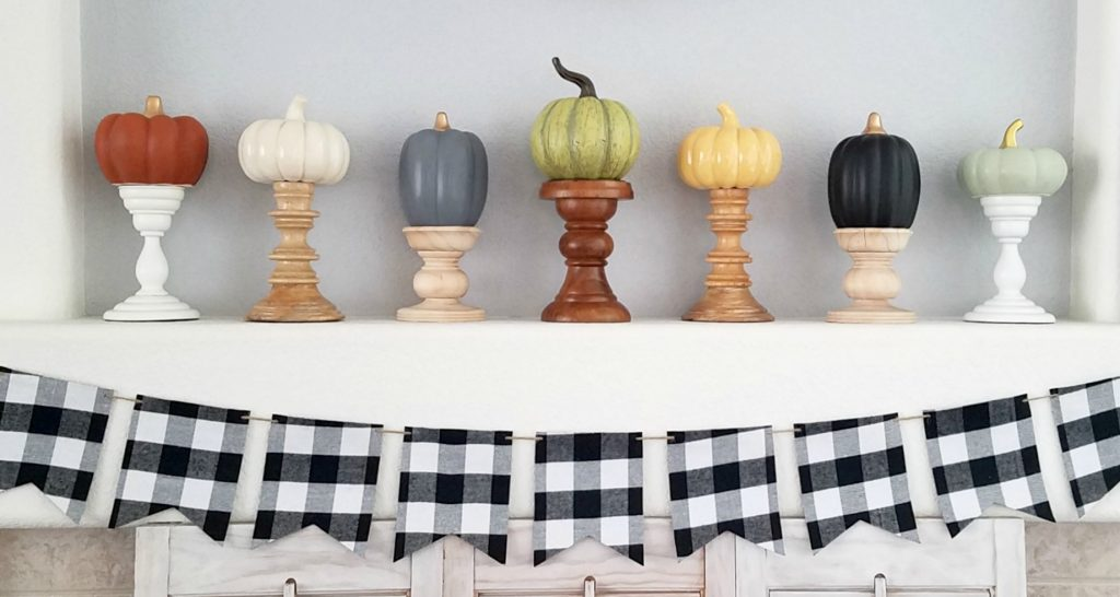 Pumpkins and Plaid mantel 4