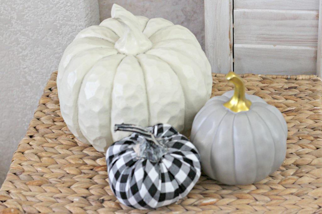 Pumpkins and Plaid mantel basket