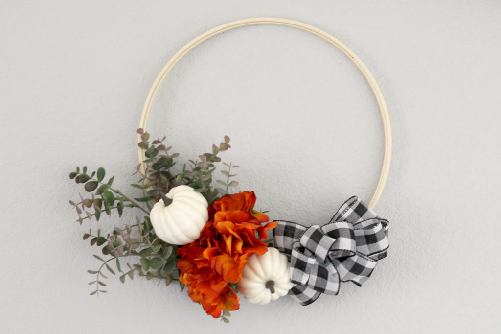 Pumpkins and Plaid mantel wreath
