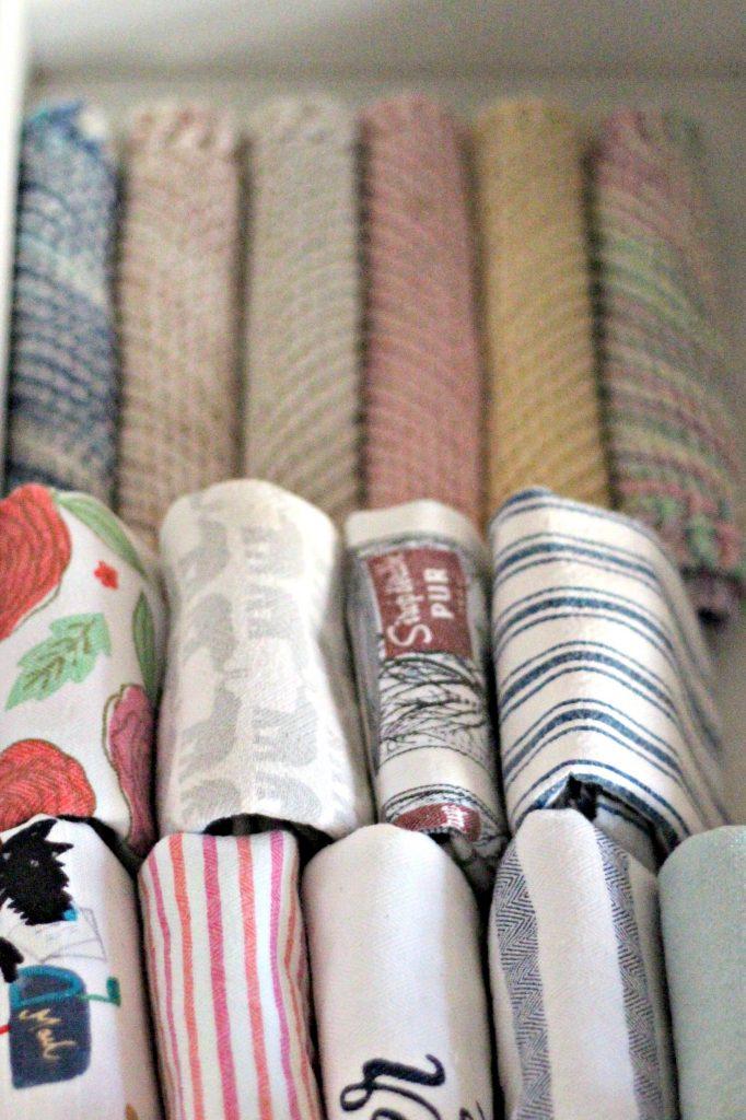 decluttering in November kitchen towels