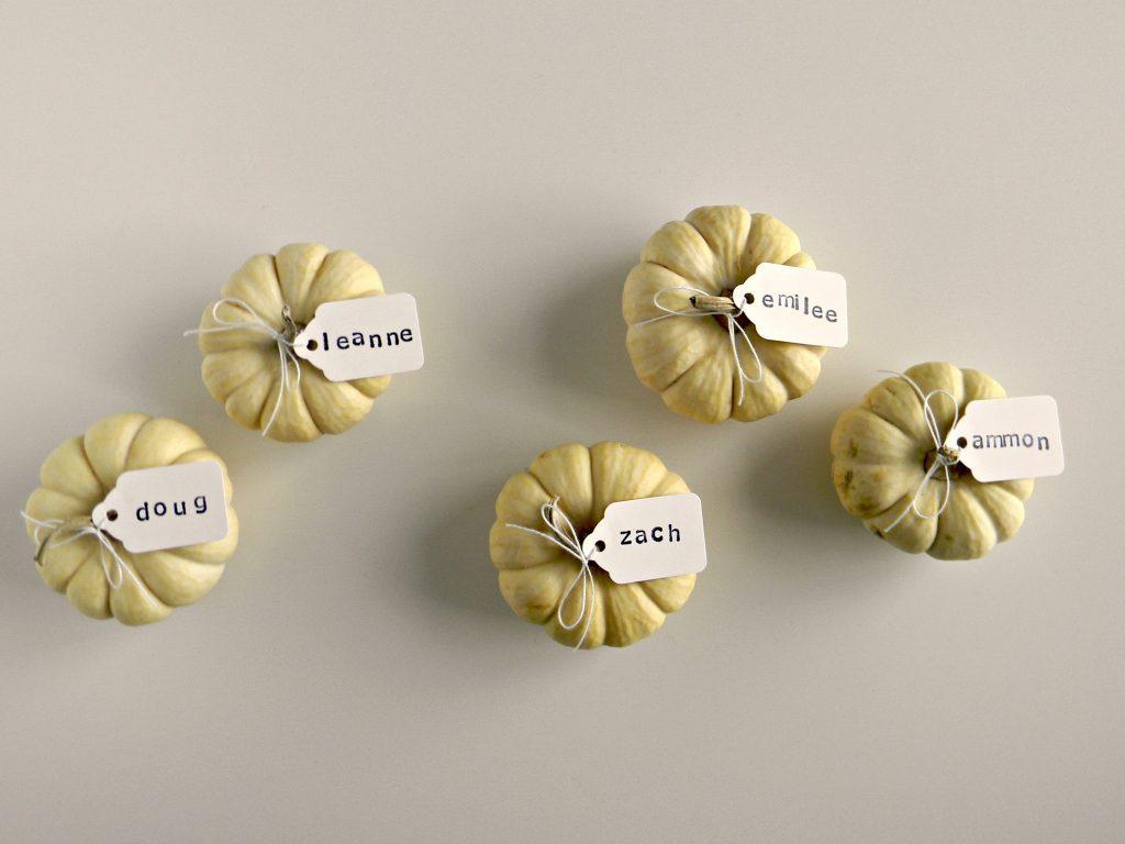 mini pumpkin place cards 2