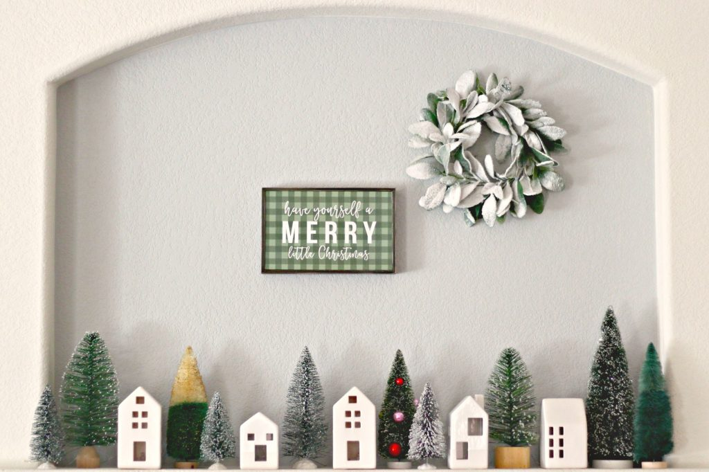 Christmas Mantel green and black display