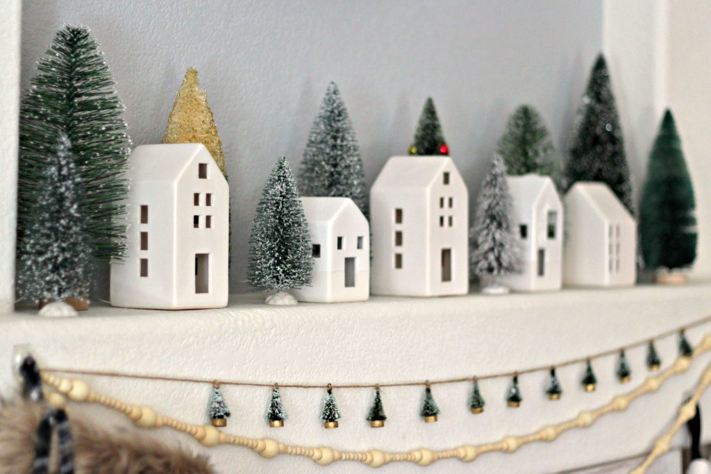 Christmas Mantel green and black little houses