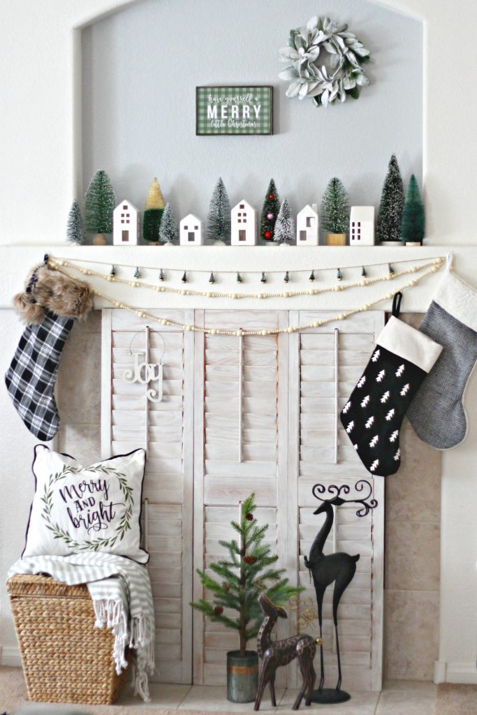 Christmas Mantel green and black merry little Christmas
