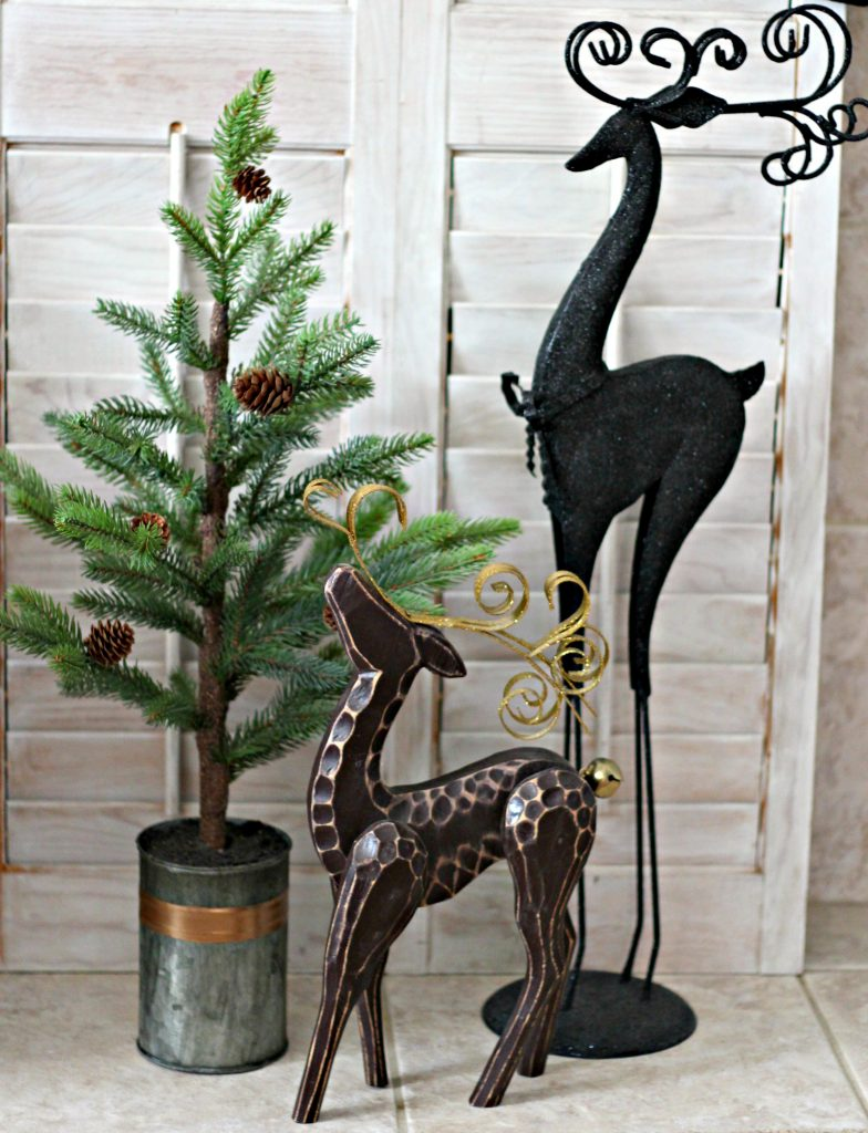 Christmas mantel green and black reindeer