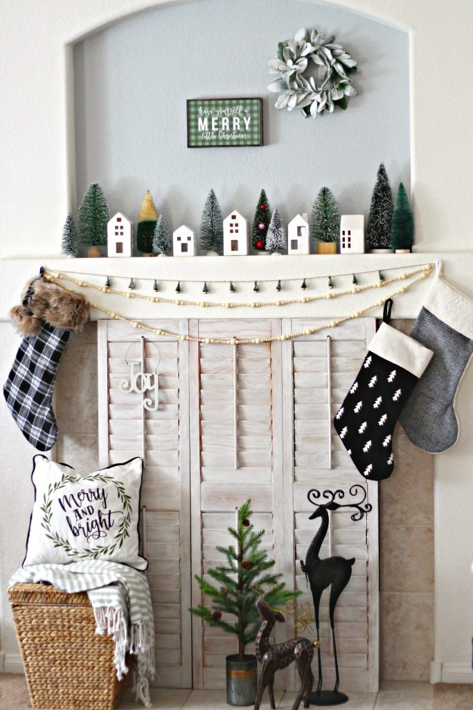 Green and Black Merry Little Christmas Mantel