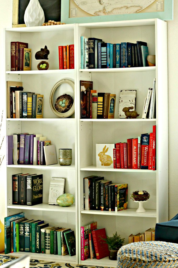 Declutter in January bookcase