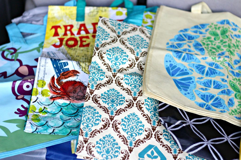 April declutter reusable shopping bags